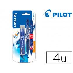 Boligrafo Borrable Pilot Frixion Clicker Azul + 3 recambios 0,4 mm + boligrafo extra