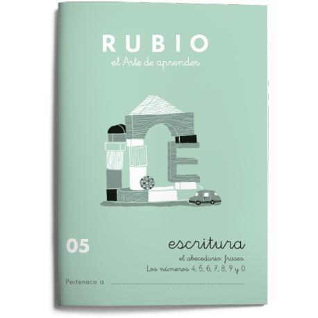 Cuaderno Rubio Escritura nº 05 Abecedario, frases y números con puntos, dibujos y grecas