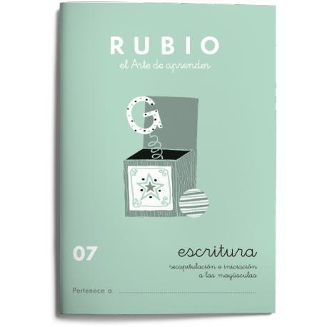 Cuaderno Rubio Escritura nº 07 Recapitulación e iniciación a las mayúsculas 20 páginas