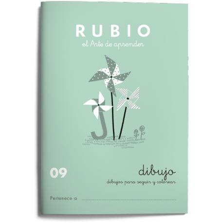 Cuaderno Rubio Escritura nº 09 Dibujos para seguir y colorear 20 páginas