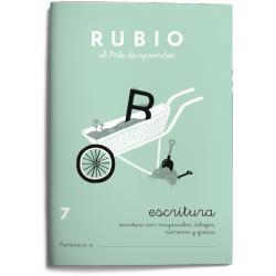 Cuaderno Rubio Escritura nº 7 Escritura con minúsculas, dibujos, números, grecas con letra continua