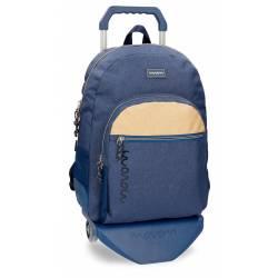 Mochila escolar Movom 44x33x13,5 cm en Poliéster Babylon Azul con carro