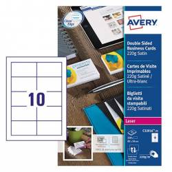 Tarjeta de visita Avery Microperforada 220g/m2 85x54mm Color Blanco 250 Unidades