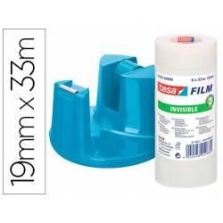 Cinta adhesiva Tesafilm Invisible 33m x 19mm Promo 6 cintas + Portarollos Compact azul regalo