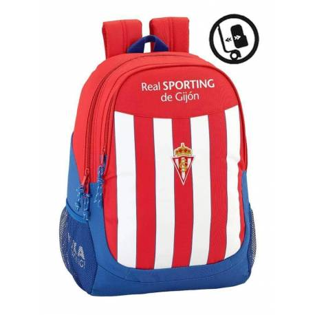 Mochila Escolar Real Sporting De Gijon 44x32x16 Cm Adaptable a Carro
