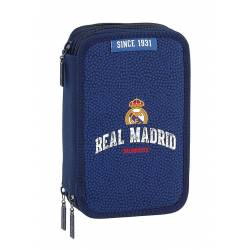 Plumier Real Madrid Basket 2017-2018 20,5x12,5x6 cm triple cremallera 41 piezas