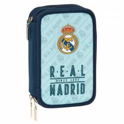 Plumier Real Madrid 20,5x12,5x6 cm triple cremallera 41 piezas Azul