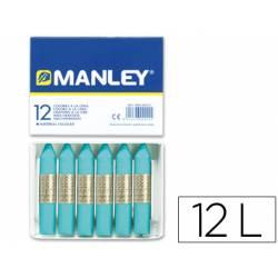 Lapices cera blanda Manley caja 12 unidades azul turquesa