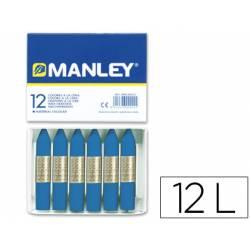Lapices cera blanda Manley caja 12 unidades color azul prusia