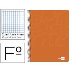 Cuaderno Espiral Liderpapel Write Tamaño Folio Cuadrícula 4 mm Color Naranja