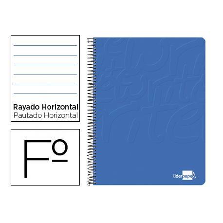 Cuaderno Espiral Liderpapel Write Tamaño Folio Rayado Horizontal Color Azul
