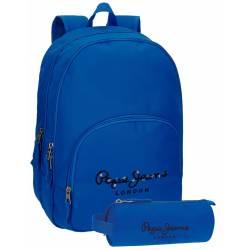 Mochila Pepe Jeans 30,5x42,5x15 cm en Poliester Harlow Azul doble compartimento adaptable a carro
